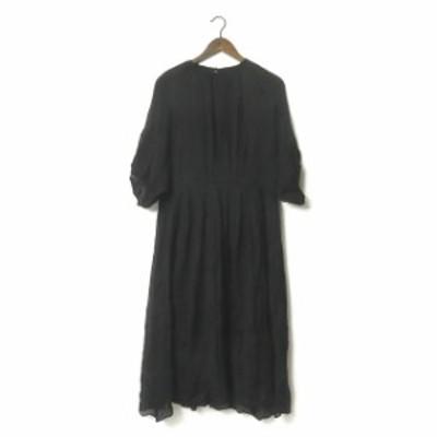 08sircus ゼロエイトサーカス 日本製 cupra crepe gather dress キュプラクレープギャザードレス S18SL-DR07 1 ブラック ワンピース