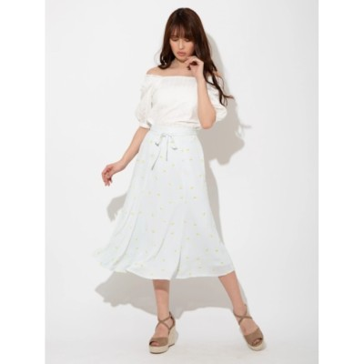 【ビーラディエンス/BE RADIANCE】 レモンパターンフレアロングスカート