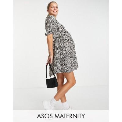 エイソス ASOS Maternity レディース ワンピース マタニティウェア ASOS DESIGN Maternity short sleeve smock mini dress in animal print アニマルプリント