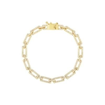 スフラミラノ レディース ブレスレット・バングル・アンクレット アクセサリー 14K Yellow Gold Plated Sterling Silver Pave CZ Link Bracelet YELLOW GOLD