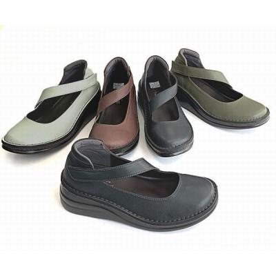 コンフォートシューズ レディースシューズ レディースファッション 靴 本革 ストラップシューズ マジックテープ仕様 甲ストラップ 脱着しやすい 上品