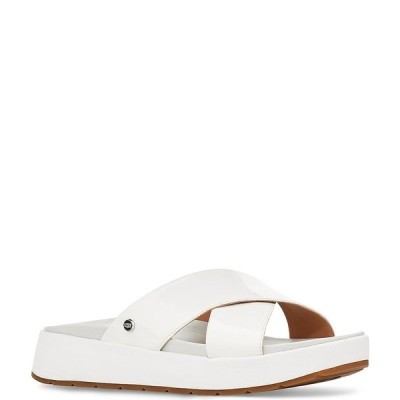 アグ レディース サンダル シューズ UGG Emily Square Toe Patent Leather Cross Slide Sandals White
