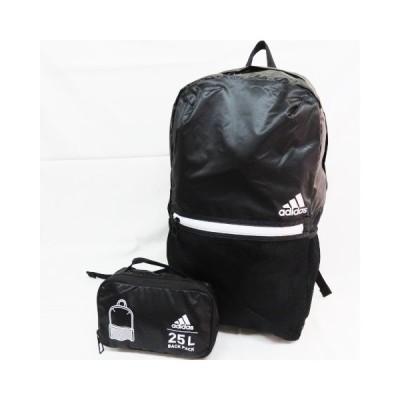 ブラック 新品 adidas アディダス 折りたたみ式 リュックサック デイバッグ 定価3990円税別の品 軽量 エコバッグ 収納バッグ