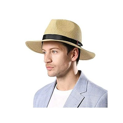 Comhats Summer Straw Fedora Hat for Men Women Panama Kentucky Derby Havana