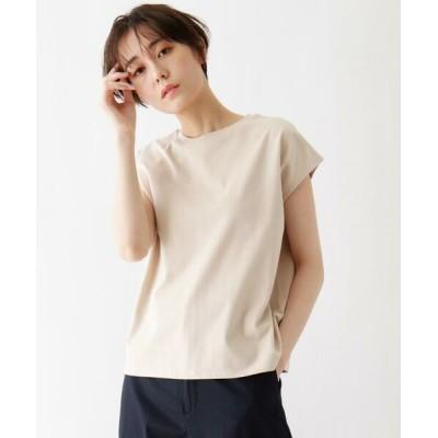 SHOO・LA・RUE/シューラルー ひんやり 配色ステッチTシャツ ライトベージュ(051) 04(LL)