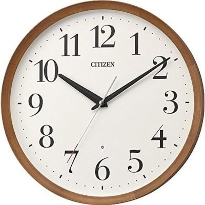 リズム(RHYTHM) 置き時計・掛け時計 茶色 Φ32x5.4cm 電波 アナログ M535 連続秒針 丸型 木 シチズン 8MY535-