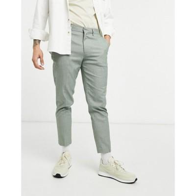 エイソス ASOS DESIGN メンズ スキニー・スリム ボトムス・パンツ Asos Design Khaki Micro Check Skinny Smart Trouser カーキ