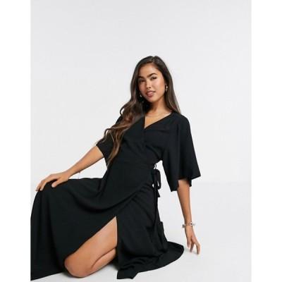リクオリッシュ レディース ワンピース トップス Liquorish kimono sleeve midi dress in black