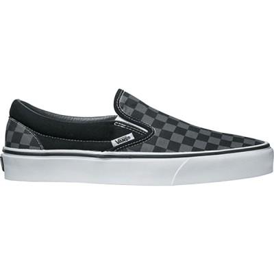 バンズ スニーカー シューズ メンズ Vans Classic Slip-On Checkerboard Shoes Black/Pewter