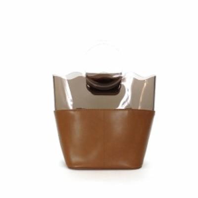 【中古】アコモデ ACCOMMODE クリア ナミナミ トートバッグ ハンドバッグ 鞄 ブラウン 茶 SSAW レディース