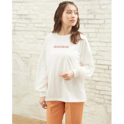 刺繍2段ロゴロングTシャツ