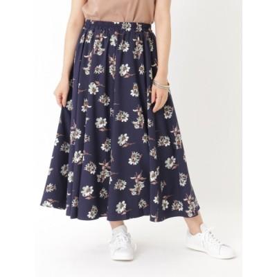 【大きいサイズ】フラワープリントロング丈スカート 大きいサイズ スカート レディース