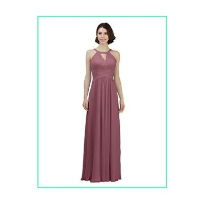Alicepub Keyhole Neckline Chiffon Bridesmaid Dress Long Formal Evening Prom Gown, Dusty Rose, US8並行輸入品