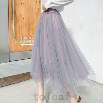 フレアスカートロングミモレ丈柄大きいサイズ春夏プリーツスカートロングスカート韓国ファッションレディーススカート夏スカートミモレロ