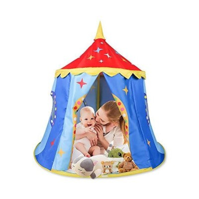KIDAMI Pop Up Play Tent Large Size, Kids Portable Castle, Teepee Tent, Assembly, Indoor & Outdoor Playhouse for Kids, Todd