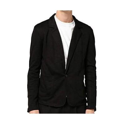 KMAZN メンズ テーラードジャケット カジュアル トップス 無地 長袖 キレイめ ジャケット ファッションスーツ (ブラック M)