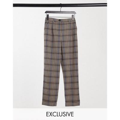 コルージョン Collusion レディース ボトムス・パンツ COLLUSION peg leg check trouser ブラウンチェック