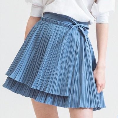 ガーリー系 アンバランス丈のプリーツスカート ミニ丈・ショート丈 きれいめ ウェストリボン Aライン フレア こなれ感 夏 お出かけに