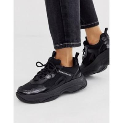 カルバンクライン レディース スニーカー シューズ Calvin Klein Maya chunky sneakers in black Black
