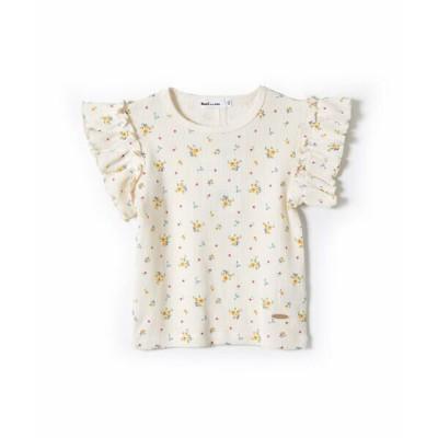 Noeil aime BeBe/ノイユ エーム べべ フラワー 花柄 ワッフル素材 半袖 Tシャツ  (80~130cm) イエロー系 80cm