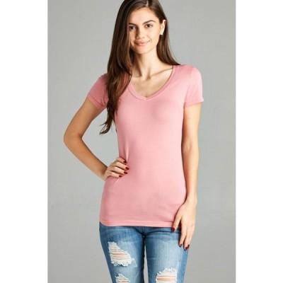 キッズ 衣類 トップス TheLovely Women's & Juniors Basic V-Neck Short Sleeve Tee Shirt Top Tシャツ