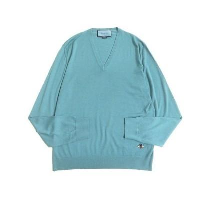 美品◆GUCCI グッチ Vネック ビー刺繍入り ニット/セーター ブルー系 S 正規品 イタリア製 メンズ シンプルデザイン◎