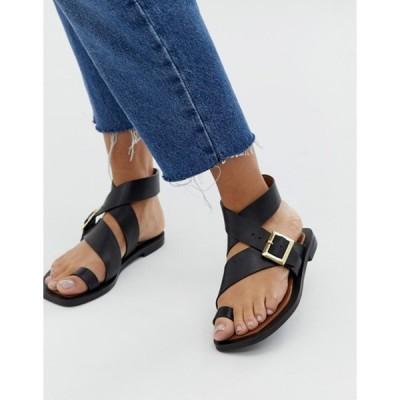 オフィス レディース サンダル シューズ Office Serenity black leather flat toe loop sandals