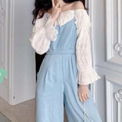 キャミソールオールインワン トレンドライク ワンショルダー パンツ ワイドパンツ ラフ感 オシャレ 可愛い 大人可愛い カジュアル 韓国風