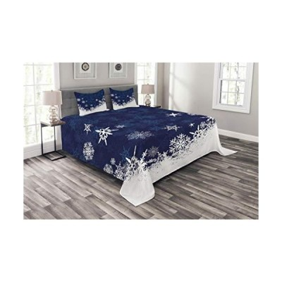 Lunarable Snowflake Bedspread, Winter Theme Christmas Illustration Cold Weather Season Inspired Celebration, Decorative Quilted 3 Piece Cove