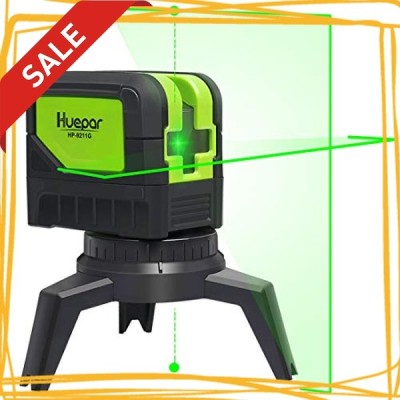 Huepar 2ライン グリーン レーザー墨出し器 2ポイント 緑色 クロスラインレーザー 自動水平調整機能 高輝度 ライ
