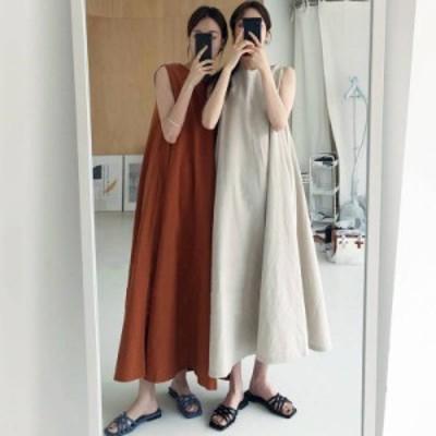 2色 ノースリーブ ワンピース ロング丈 シンプル フレア ベージュ オレンジ レディース ファッション 韓国 オルチャン