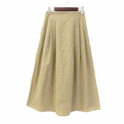 【中古】レピスリー l'epicerie フレア スカート 38 M ベージュ ロング 無地 シンプル ウエストゴム C11-76003 レディース