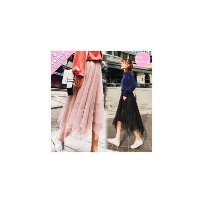 チュールスカート レディース プリーツ ロング丈 不規則裾 ウエストゴム ファッション ボリューム カジュアル おしゃれ きれいめ 春夏秋