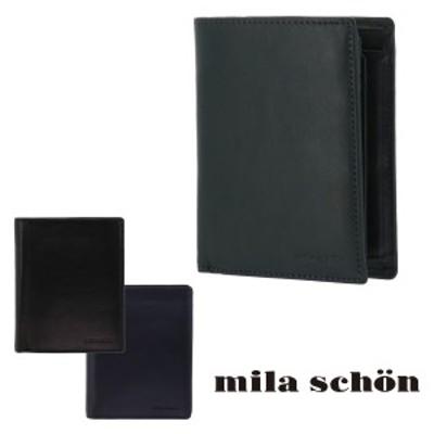 【レビューを書いてポイント+5%】ミラショーン 二つ折り財布 カーフレザー CALF LEATHER MSMW7JS3 mila schon 牛革 メンズ