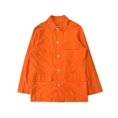 【中古】エルメス HERMES ナイロン ステンカラー ミドル コート ジャケット ブルゾン 46 オレンジ メンズ ※ メンズ 【ベクトル 古着】
