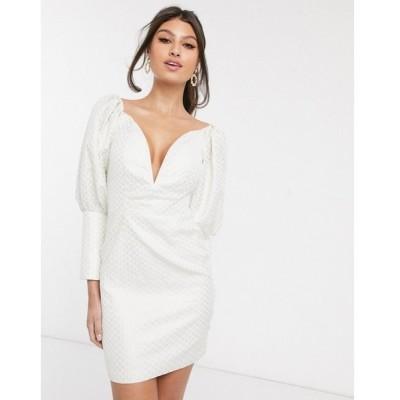 ラーレ Rare レディース ワンピース ミニ丈 ワンピース・ドレス London plunge front jacquard mini dress with statement puff sleeve in cream クリーム