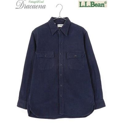 古着 シャツ 80s LL Bean ビーン シャモアクロス 厚手 フランネル シャツ ネルシャツ 紺 15 1/2 古着