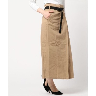スカート ツイルベルト付きタックロングスカート