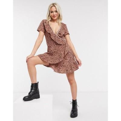 ブレイブソール ミディドレス レディース Brave Soul ruffle wrap mini dress in leopard  エイソス ASOS sale