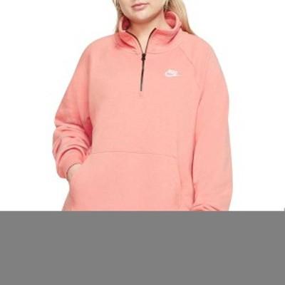 ナイキ レディース シャツ トップス Nike Women's Plus Size Sportswear Essential 1/4-Zip Fleece Top Pink Quartz