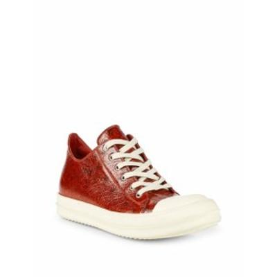 リックオーウェンズ メンズ スニーカー Textured Leather Low-Top Sneakers