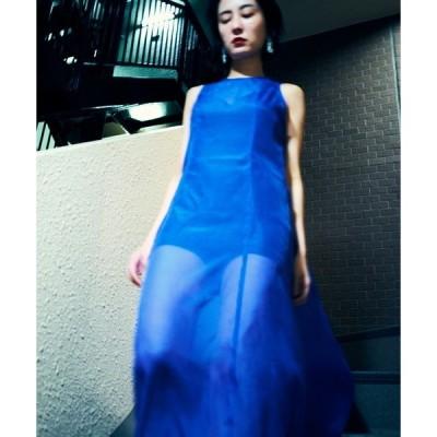ドレス インナーキャミソールつき シア—ロングドレス