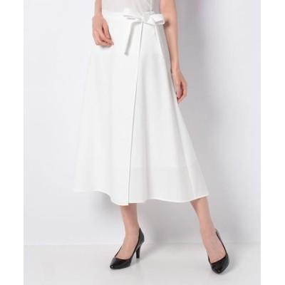 JOCONDE ROYAL/ジョコンダロイヤル ポリエステル2WAYストレッチ 巻き風フィッシュテールスカート ホワイト 40