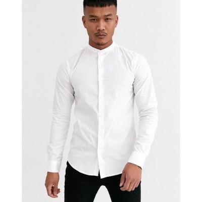 オンリーアンドサンズ メンズ シャツ トップス Only & Sons cotton shirt with grandad collar in white White