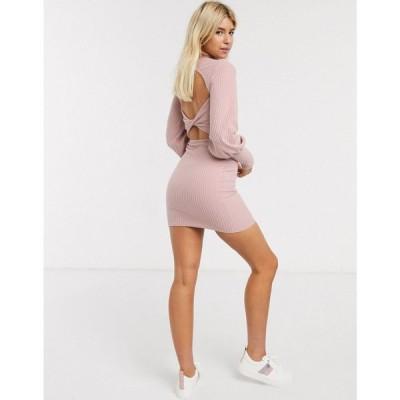 エイソス ASOS DESIGN レディース ワンピース ワンピース・ドレス rib sweat dress with twist back in pink ピンク