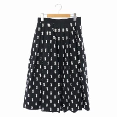 【中古】アキラナカ AKIRA NAKA リボン装飾デザイン ボリュームスカート フレア プリーツ ロング 36 黒 白