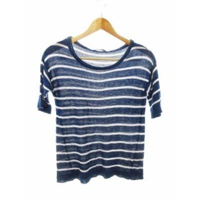 【中古】プレミアム バイ ビッキー PREMIUM BY VICKY ニット セーター 半袖 麻混 リネン混 ボーダー 2 紺