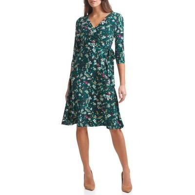 トミー ヒルフィガー レディース ワンピース トップス Floral Waist Tie Wrap Midi Dress FOREST MUL