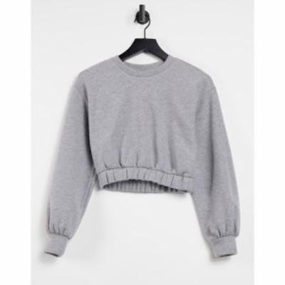 プルandベアー PullandBear レディース スウェット・トレーナー トップス Soft Touch Cropped Sweatshirt Co-Ord In Grey グレー