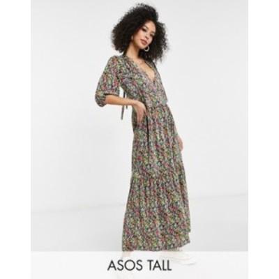 エイソス レディース ワンピース トップス ASOS DESIGN Tall plisse V-neck maxi dress with tiered hem and long sleeves in bright flo